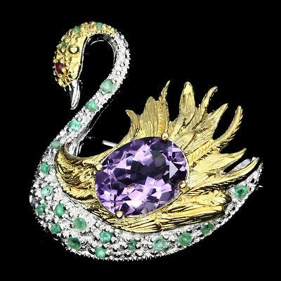 Gorgeous Oval Cut 14x10 Mm Amethyst Emerald Ruby 925 Sterling Silver Swan Brooch