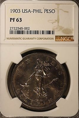 1903 Philippines 1 Peso  NGC PF 63 ~ Rare Collection of Proofs Seldom Seen !