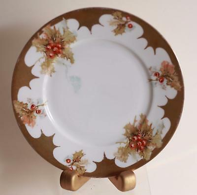 Beautiful Vintage Silesia Ohme Hand Painted Christmas  Holly Plate # 294 Z- Nice