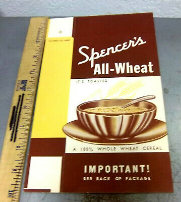 Vintage NEW & unused 1930s Spencers All Wheat Cereal box, great graphics, NICE