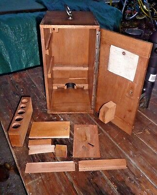 Antique Reichert Microscope  Dovetailed Wood Case Early 1900's