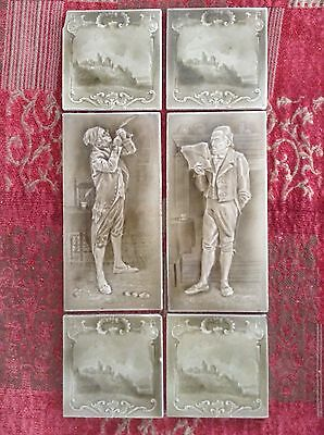 Original set of Sherwin fireplace tiles Mr Pickwick Charles Dickens c1890