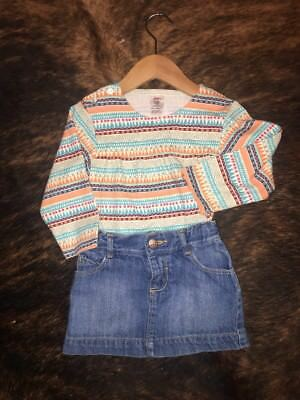 Lot Of Two Toddler Girl 24 Month Zutano Shirt & Old Navy Jean Skirt