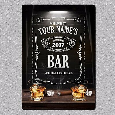 Personalised Jack Daniels Style Metal Bar Man Cave Sign/Plaque Pub Whiskey Beer