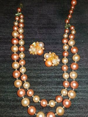 Vintage Coral Light Orange Pink Beaded Necklace Clip On Earrings Set Very Nice!!