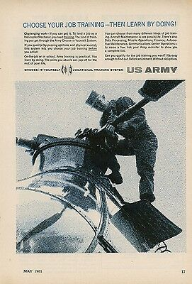 1961 US Army Recruiting Ad Vocational Training Helicopter Pilot Recruit Enlist