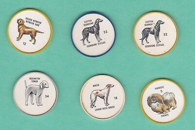 1960s HUMPTY DUMPTY DOG COINS, 6 DIFFERENT, #5,12,18,34,52 Blue, 52 Yellow
