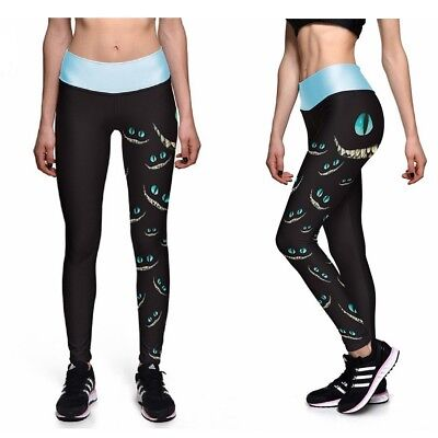 UK CHESHIRE CAT LEGGINGS Yoga Gift Idea Loungewear Fitness Alice in Wonderland