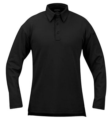 Mens Performance Tactical Polo Shirt Propper ICE Long Sleeve Black F5315
