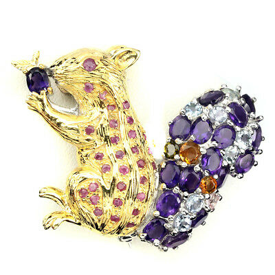 Awesome Ruby Amethyst Sky Blue Topaz Tourmaline 925 Silver Squirrel Brooch