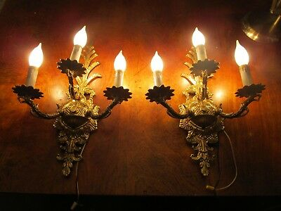 2 Solid Brass 3 L Antique Sconces Collectible Sconces Home & Garden Crystals Yes