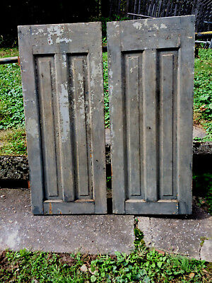 "Pair Antique Oak Cupboard Doors Primitive 42.25"" High X 17.75"" Wide Chippy Paint"