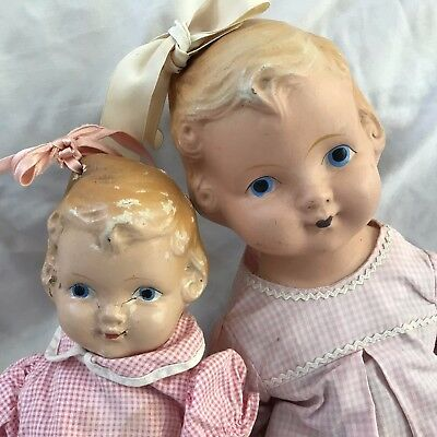 """Antique Composition Pair of 12"""" & 17"""" Kiddie Pals Dolls Dolly"""