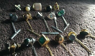 Mixed Gemstone Tie Tack Lot- Tigers Eye, Abalone, & More!