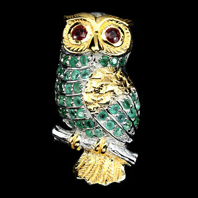 Awesome Round 4mm Fancy Color Sapphire Emerald 925 Sterling Silver Owl Brooch
