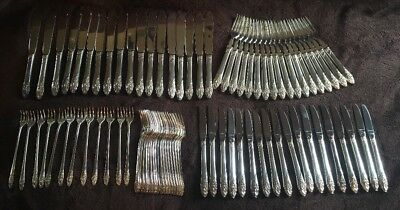 Floral Design Sliver Plate Flatware Set- 84 Pc No Spoons