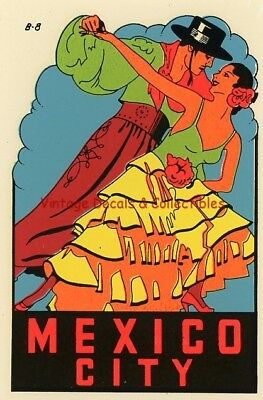 Vintage Mexico City Flamenco Souvenir Water Luggage Auto Travel Decal Original