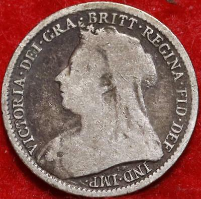 1894 Great Britain 3 Pence Silver Foreign Coin Free S/H
