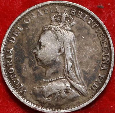 1887 Great Britain 3 Pence Silver Foreign Coin Free S/H