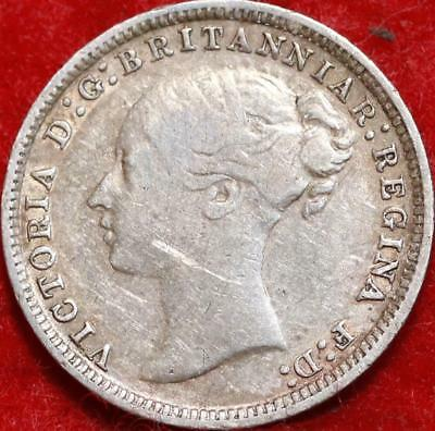 1874 Great Britain 3 Pence Silver Foreign Coin Free S/H