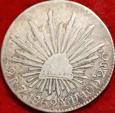 1869 Mexico 2 Reales Silver Foreign Coin Free S/H