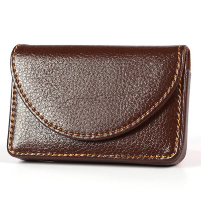 PU Leather Business Name Card Holder Case  Wallet with Magnetic Shut Brown