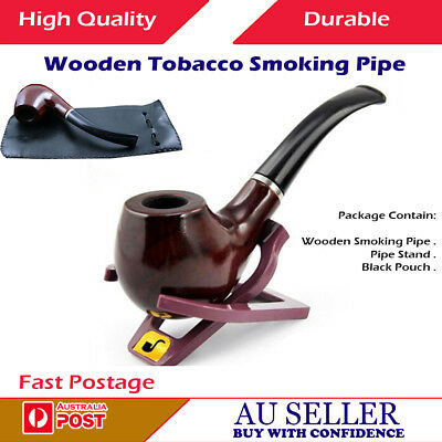High Quality New Durable Tobacco Smoking Smoke Wooden Pipe with Stand & Pouch AU