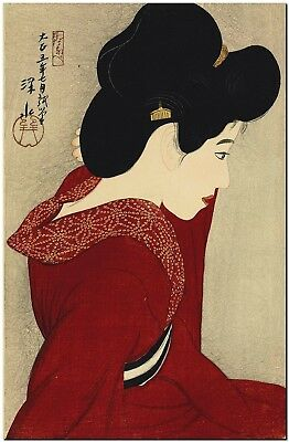 Japanese Woodblock Art Ito Shinsui before the mirror Canvas Print FRAMED