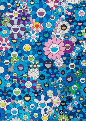 TAKASHI MURAKAMI - Flowers Blue & Pink - Canvas Print Poster FRAMED