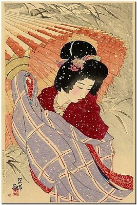 Japanese Woodblock Art Blizzard Snow Storm Ito Shinsui Canvas Print FRAMED