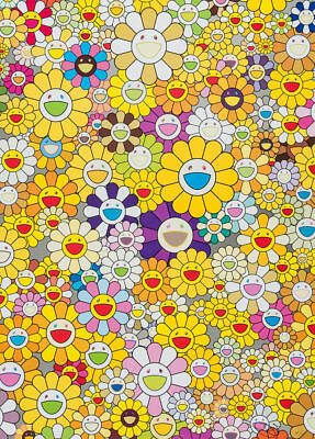 TAKASHI MURAKAMI - Flowers Yellow - Canvas Print Poster FRAMED