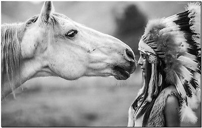 Native Indian Girl and Horse High Quality Canvas Print Poster FRAMED BW
