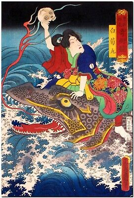 Japanese Woodblock Art Warrior Rides a Dragon KUNISADA Canvas Print FRAMED