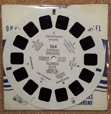 #164 Cypress Gardens, Florida - View Master Single Reel & Sleeve from 1949