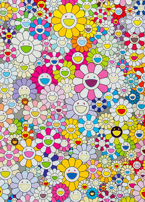 TAKASHI MURAKAMI - Flowers Multi-Colour - Canvas Print Poster FRAMED