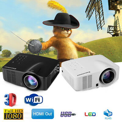 Wifi MINI LED Proyector Portátil Android 1080P HD 3D HDMI AV USB SD Cine Casa