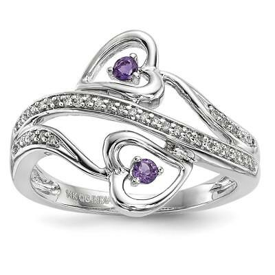 14k White Gold Amethyst Hearts Ring Size 7 Y13840AM/AA
