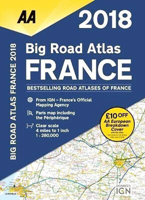 AA France Big Road Atlas Map 2018 France's Clearest Mapping With 22 Town Plans