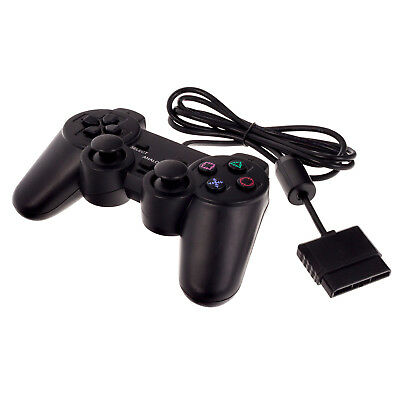 Black Dual Vibration Wired Controller Joypad Gamepad Game for PS2 PlayStation 2