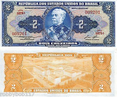 BRAZIL 2 Cruzeiros Banknote World Paper Money UNC Currency Pick p-151b Note Bill