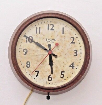 Smiths Sectric Wall Clock Factory Station Vintage Industrial Electric Bakelite