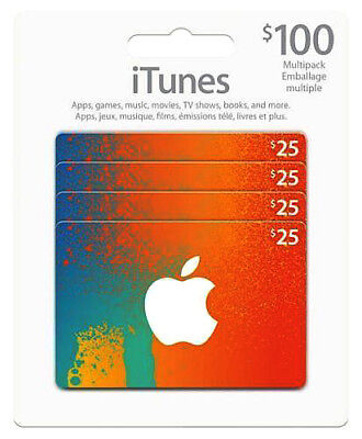 Canadian iTunes Cards 4 x $25 $100 total ~ FREE SHIPPING! ~ Canada App Store
