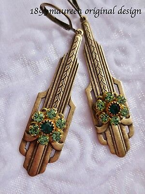 Art Deco earrings Art Nouveau green crystal iconic vintage 1920s 1930s style