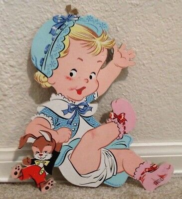 Vintage Dolly Toy Company Baby Girl with Bunny Nursery Wall Hanging Decor 1952