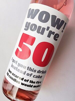 50th Birthday, Funny, Humorous, Sarcastic Wine, Champagne Beer Bottle Label Gift