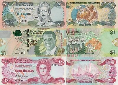 Bahamas 3 Note Set: 50 Cents, 1 & 3 Dollars (2001-2015) - p68, pNew, p44b UNC