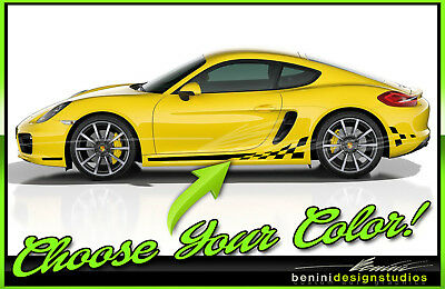 Porsche 911 Cayman Boxter Macan All Years Checkered flag racing stripes Checkers
