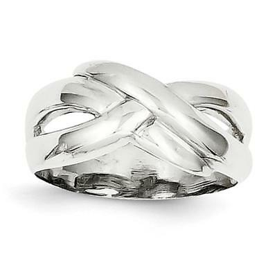 14k White Gold Polished X Dome Ring D906 Size 6.5