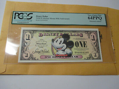 2008 $1 Disney Dollar Mickey Mouse 80Th Annv.pcgs 64Ppq #2