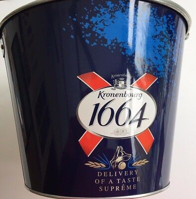 Large Kronenbourg Blue Ice Bucket with Handle Wine Drinks Cooler Champagne